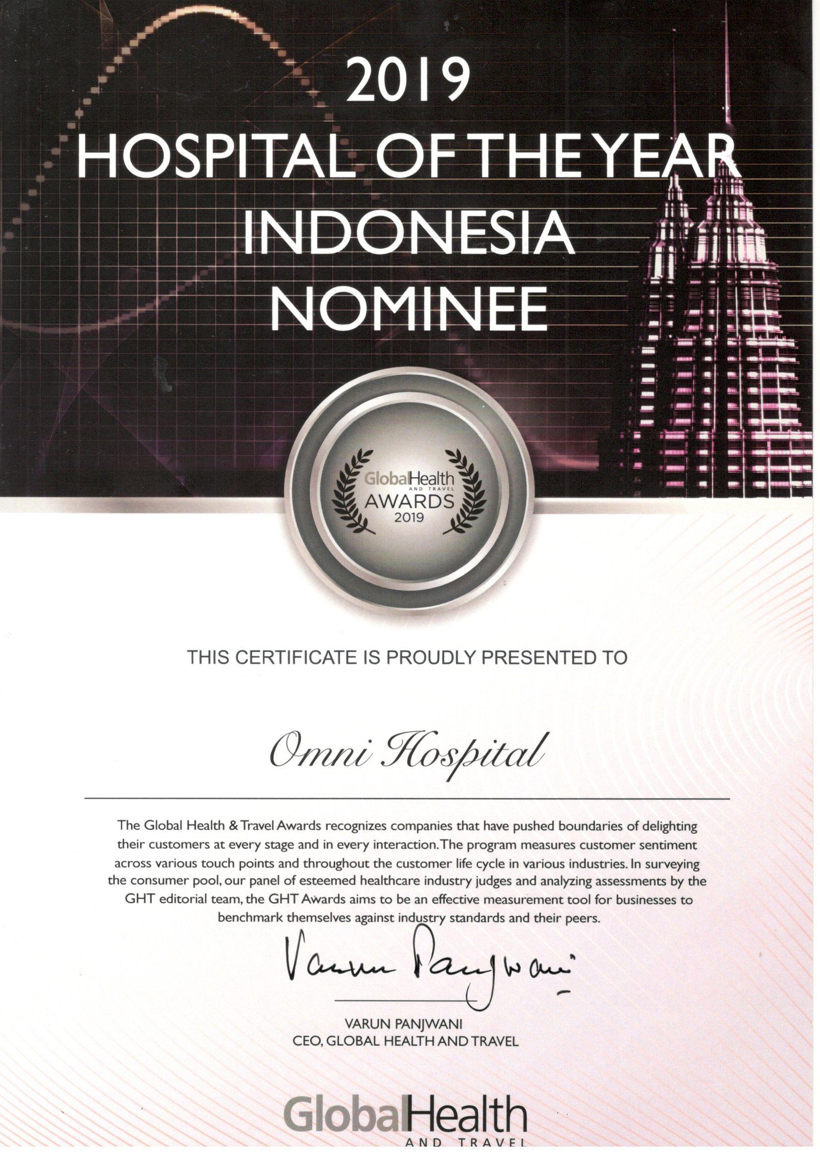 Hospital of The Year Indonesia Nominee - 2019 APAC Healthcare & Medical Tourism Award